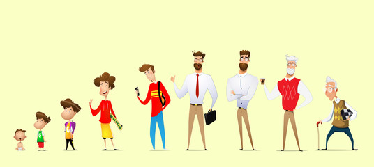 Cartoon man in different ages.