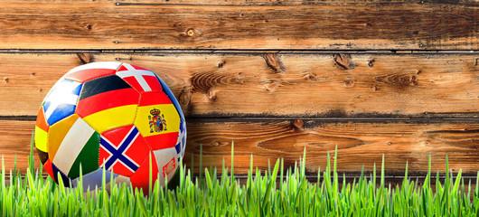 Fußball im Gaten mit Holzhintergrund