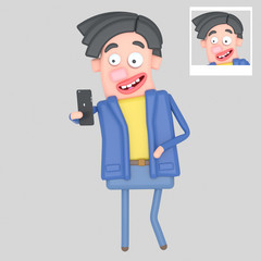 Man taking self portrait selfie photo.  Isolate. Easy automatic vectorization. Easy background remove. Easy color change. Easy combine. 4000x4000 - 300DPI For custom illustration contact me.