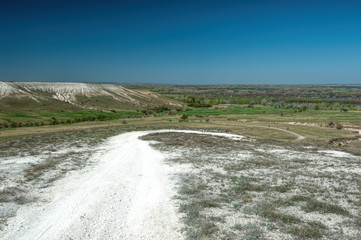 A white road in the Don chalk mountains