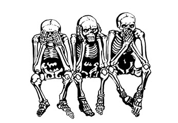 Graphical skeletons sitting isolated on white background,vector illustration for tattoo and printing