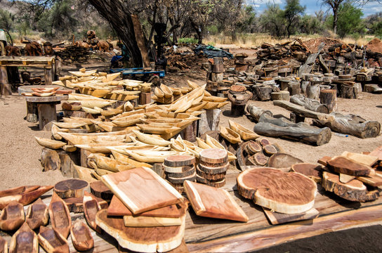 Wooden boats and other items at local wood craft market in Namibia, Southern Africa