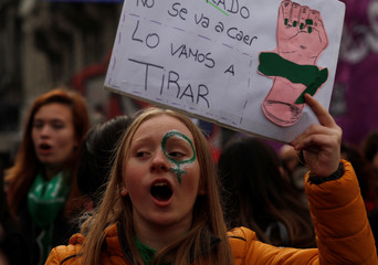 A demonstrator attends a protest in favour of legalising abortion outside the Congress while lawmakers debate an abortion bill in Buenos Aires