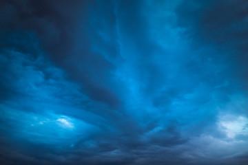 Deep dark sky, storm clouds. Beautiful stormy sky.
