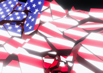 State collapse USA Flag 3d illustration