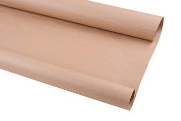 Isolated kraft paper on roll. Background, texture, copy space.