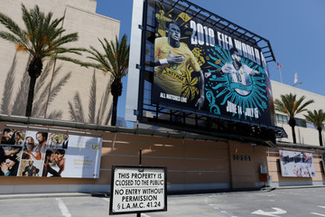 An entrance to Fox Studios is shown in Los Angeles, California