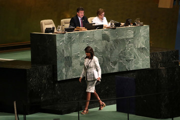 U.S. Ambassador to the United Nations Nikki Haley walks away after she addressed a United Nations General Assembly meeting in New York