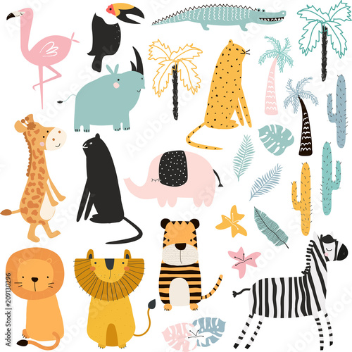 Set of cartoon African animals and plants  Vector hand drawn