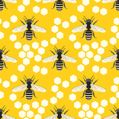 Bee vector seamless pattern.