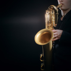 Fotorollo Musik Saxophone player Jazz musician. Saxophonist playing baritone sax