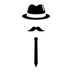 Man icon with hat, mustache and tie isolated on white background. Vector illustration.