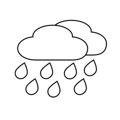 Line icon cloud with rain isolated on white background. Vector illustration.