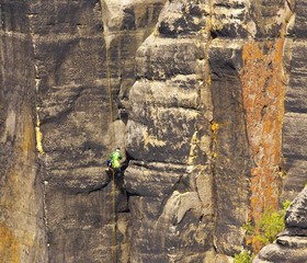 Climber on the rope, Saxony Switzerland, Germany