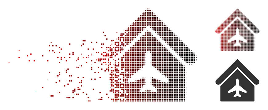 Vector aircraft hangar icon in sparkle, pixelated halftone and undamaged whole variants. Disintegration effect involves rectangle scintillas and horizontal gradient from red to black.