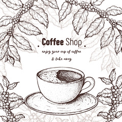 Coffee cup and coffee tree illustration. Vintage design for coffee shop. Engraved vector illustration. Americano cup.