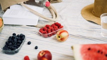 summer picnic setting with healthy food, blueberries, raspberries, peaches, water melon, melon, hat, book, water, beach bag. Outdoor gathering concept.
