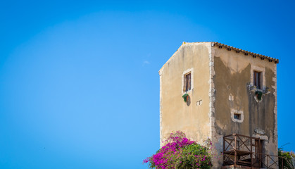 Wall Mural - Sicily, Italy. Old house with purple flowers in Syracuse.