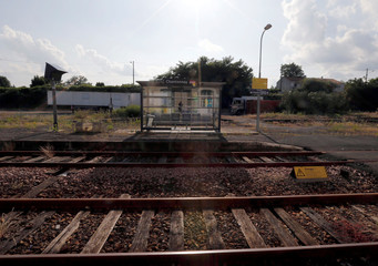 A general view shows empty railway stop of French state-owned railway company SNCF in Chantonnay