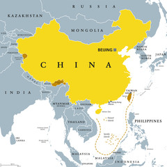 Peoples Republic of China, PRC, gray political map. Area controlled by China in yellow color, and claimed but uncontrolled regions shown in brown. English labeling. Illustration over white. Vector.