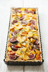 Autumn Tart with Red Kuri Squash, Figs and Smoked Tofu