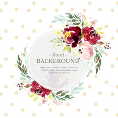Round floral background template