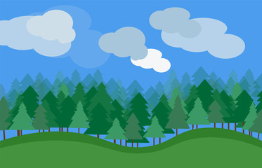 vector nature landscape with green grass trees and clouds