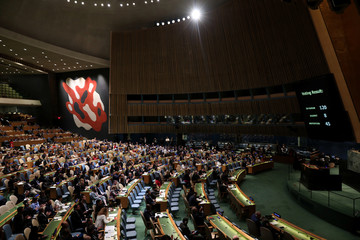 The United Nations General Assembly votes to adopt a draft resolution to deplore the use of excessive force by Israeli troops against Palestinian civilians at U.N. headquarters in New York