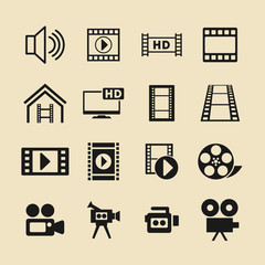 Video and cinema vector icon set for web site or app.