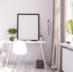 Mock up poster frame in living room, working area, Scandinavian style, 3d render