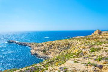 View of rugged seacoast near Dwejra point, Gozo, Malta