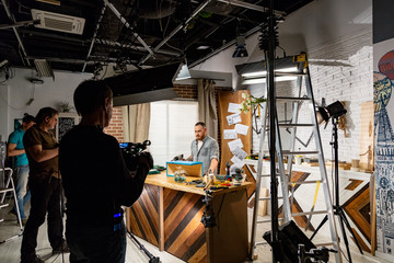 Behind the scenes of video production or video shooting