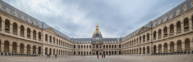 Paris France - May 1st 2013 Tourists at the court of honour at the Hotel des Invalides monument in Paris, France