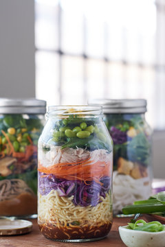 Lunch salad jars on kitchen counter