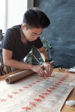 Creative printmaking in workshop