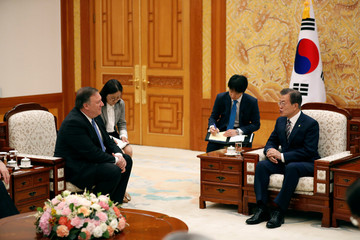 U.S. Secretary of State Mike Pompeo attends a bilateral meeting with South Korea's President Moon Jae-in at the presidential Blue House in Seoul, South Korea