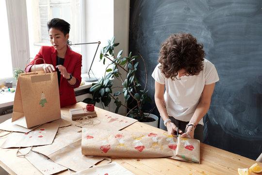 In gift packaging studio