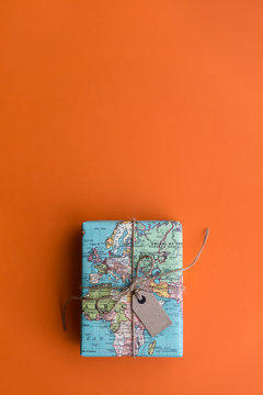 Gift wrapped in vintage map