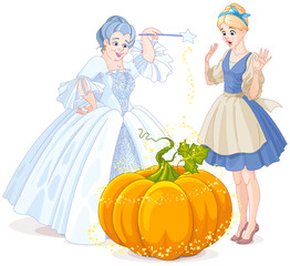 Fotobehang Sprookjeswereld Fairy Godmother & Cinderella