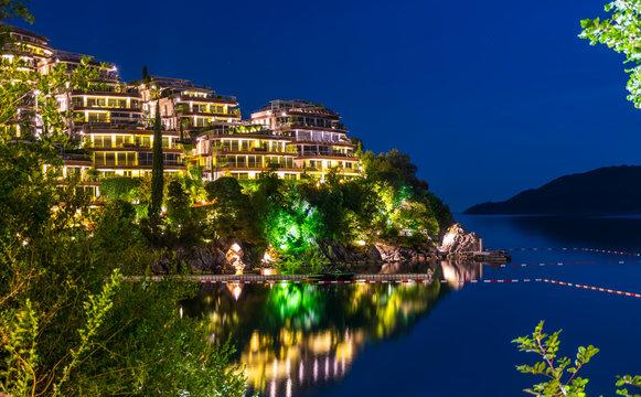 Picturesque night embankment on the Adriatic coast.