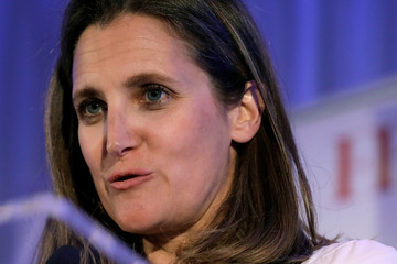 Canadian Foreign Affairs Minister Chrystia Freeland receives the Diplomat of the Year award in Washington