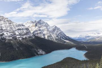 Beautiful mountain valley & blue lake