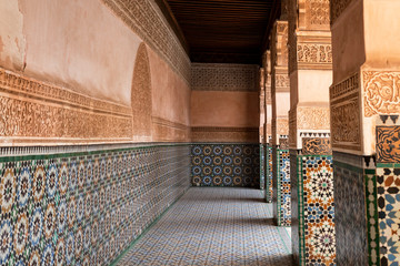 Mosaic tile work at the Ben Youssef Madrasa in Marrakesh