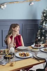 Woman Enjoying Christmastime