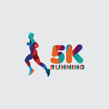 5 K Running Vector Template Design Illustration