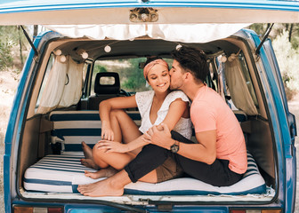 Young couple in a van