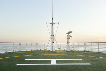Helicopter pad on the bow of a ship