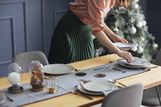 Woman Preparing Christmas Lunch