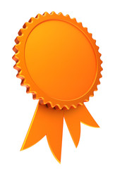 award ribbon golden reward medal rosette blank. achievement badge winner best template design element yellow empty. 3D illustration, isolated