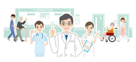 病院と医者のイラスト